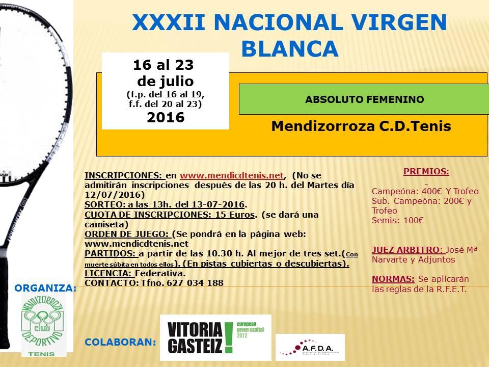Cartel XXXII Virgen Blanca 2016